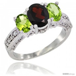 14k White Gold Ladies Oval Natural Garnet 3-Stone Ring with Peridot Sides Diamond Accent