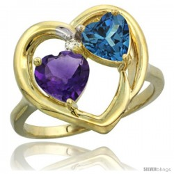 14k Yellow Gold 2-Stone Heart Ring 6mm Natural Amethyst & London Blue Topaz Diamond Accent