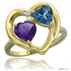 14k Yellow Gold 2-Stone Heart Ring 6mm Natural Amethyst & London Blue Topaz Diamond Accent