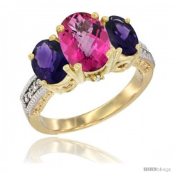 14K Yellow Gold Ladies 3-Stone Oval Natural Pink Topaz Ring with Amethyst Sides Diamond Accent