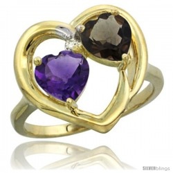 14k Yellow Gold 2-Stone Heart Ring 6mm Natural Amethyst & Smoky Topaz Diamond Accent