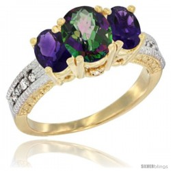 14k Yellow Gold Ladies Oval Natural Mystic Topaz 3-Stone Ring with Amethyst Sides Diamond Accent