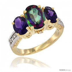 14K Yellow Gold Ladies 3-Stone Oval Natural Mystic Topaz Ring with Amethyst Sides Diamond Accent