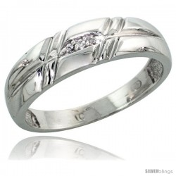 10k White Gold Ladies Diamond Wedding Band Ring 0.02 cttw Brilliant Cut, 7/32 in wide -Style 10w005lb