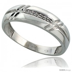 10k White Gold Mens Diamond Wedding Band Ring 0.04 cttw Brilliant Cut, 1/4 in wide -Style 10w005mb