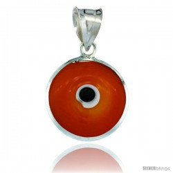 Sterling Silver Orange Color Evil Eye Pendant, 5/8 in wide