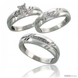 10k White Gold Diamond Trio Engagement Wedding Ring 3-piece Set for Him & Her 6 mm & 5.5 mm wide 0.12 cttw Brilliant Cut