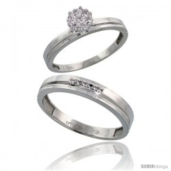 10k White Gold Diamond Engagement Rings 2-Piece Set for Men and Women 0.08 cttw Brilliant Cut, 3mm & 4mm wide