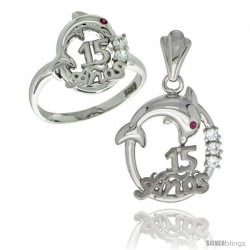 Sterling Silver Quinceanera 15 ANOS Dolphin Ring & Pendant Set CZ Stones Rhodium Finished
