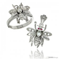Sterling Silver Bee Ring & Pendant Set CZ Stones Rhodium Finished