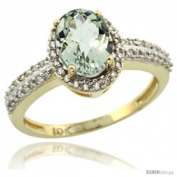 10k Yellow Gold Diamond Halo Green Amethyst Ring 1.2 ct Oval Stone 8x6 mm, 3/8 in wide