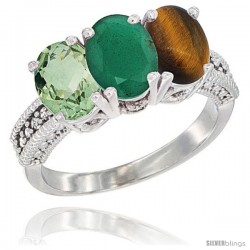 14K White Gold Natural Green Amethyst, Emerald & Tiger Eye Ring 3-Stone 7x5 mm Oval Diamond Accent