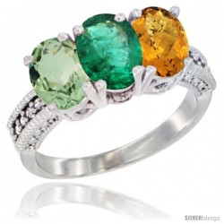 14K White Gold Natural Green Amethyst, Emerald & Whisky Quartz Ring 3-Stone 7x5 mm Oval Diamond Accent