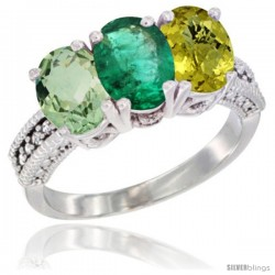 14K White Gold Natural Green Amethyst, Emerald & Lemon Quartz Ring 3-Stone 7x5 mm Oval Diamond Accent