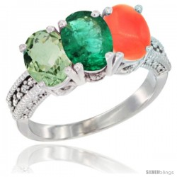 14K White Gold Natural Green Amethyst, Emerald & Coral Ring 3-Stone 7x5 mm Oval Diamond Accent
