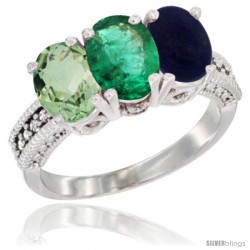14K White Gold Natural Green Amethyst, Emerald & Lapis Ring 3-Stone 7x5 mm Oval Diamond Accent