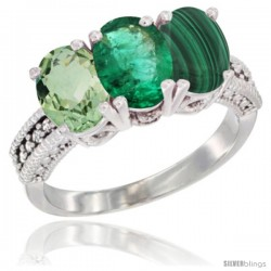 14K White Gold Natural Green Amethyst, Emerald & Malachite Ring 3-Stone 7x5 mm Oval Diamond Accent