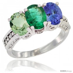 14K White Gold Natural Green Amethyst, Emerald & Tanzanite Ring 3-Stone 7x5 mm Oval Diamond Accent
