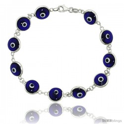 Sterling Silver Translucent Navy Blue Color Evil Eye Bracelet, 7 in long