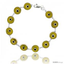 Sterling Silver Translucent Light Yellow Color Evil Eye Bracelet, 7 in long