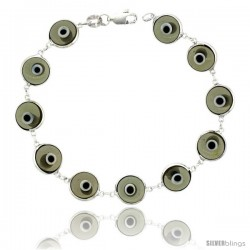Sterling Silver Translucent Light Gray Color Evil Eye Bracelet, 7 in long