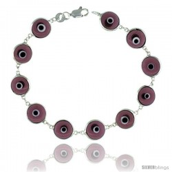 Sterling Silver Translucent Purple Color Evil Eye Bracelet, 7 in long