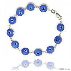 Sterling Silver Light Blue Color Evil Eye Bracelet, 7 in long