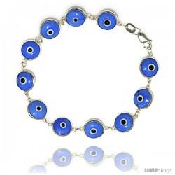 Sterling Silver Light Blue Color Evil Eye Bracelet, 7 in long