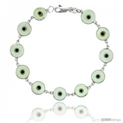 Sterling Silver Translucent Light Gray Color Evil Eye Bracelet, 3/8 in (10 mm) wide