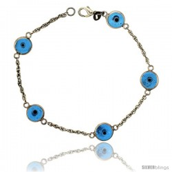 Sterling Silver Translucent Blue Color Evil Eye Bracelet, 3/8 in (10 mm) wide