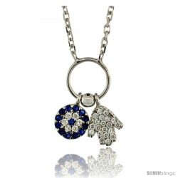 Sterling Silver 16 in. Cable Link Chain Necklace Jeweled Evil Eye & Hamsa Charm Pendant