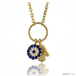 Sterling Silver (Gold Plated) 16 in. Cable Link Chain Necklace Jeweled Evil Eye & Hamsa Charm Pendant