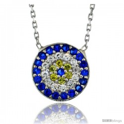 Sterling Silver 16 in. Cable Link Chain Necklace 1/2 in (11 mm) Jeweled Round Evil Eye Pendant