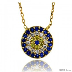 Sterling Silver ( Gold Plated ) 16 in. Cable Link Chain Necklace 1/2 in (11 mm) Jeweled Round Evil Eye Pendant