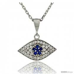 Sterling Silver 17 in. Cable Link Chain Necklace 3/4 in (20 mm) Jeweled Evil Eye Pendant