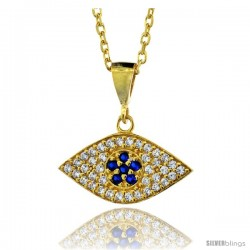 Sterling Silver ( Gold Plated ) 17 in. Cable Link Chain Necklace 3/4 in (20 mm) Jeweled Evil Eye Pendant