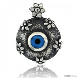 Sterling Silver Floral Round Evil Eye Pendant, 1 1/16 in wide