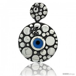 Sterling Silver Dotted Round Blue Color Evil Eye Pendant, 1 in wide