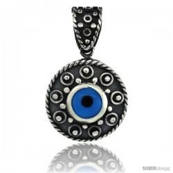 Sterling Silver Rope Edge Design Blue Color Evil Eye Pendant, 7/8 in wide