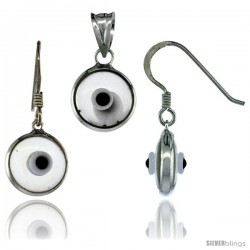 Sterling Silver Translucent Light Gray Color Evil Eye Pendant & Earrings Set