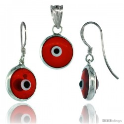 Sterling Silver Translucent Red Color Evil Eye Pendant & Earrings Set