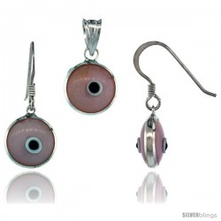 Sterling Silver Light Pink Color Evil Eye Pendant & Earrings Set