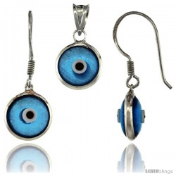 Sterling Silver Translucent Blue Color Evil Eye Pendant & Earrings Set