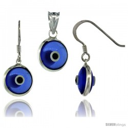 Sterling Silver Translucent Blue Color Evil Eye Pendant & Earrings Set -Style Eipe26