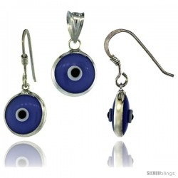 Sterling Silver Blue-Violet Color Evil Eye Pendant & Earrings Set