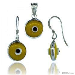 Sterling Silver Yellow Color Evil Eye Pendant & Earrings Set