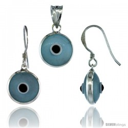 Sterling Silver Light Blue Color Evil Eye Pendant & Earrings Set
