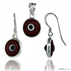 Sterling Silver Red Color Evil Eye Pendant & Earrings Set -Style Eipe6