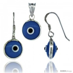 Sterling Silver Blue Color Evil Eye Pendant & Earrings Set