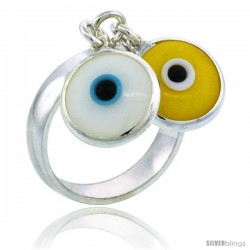 Sterling Silver White & Yellow Color Double Evil Eye Ring